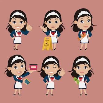 Conjunto de governanta com diferentes poses