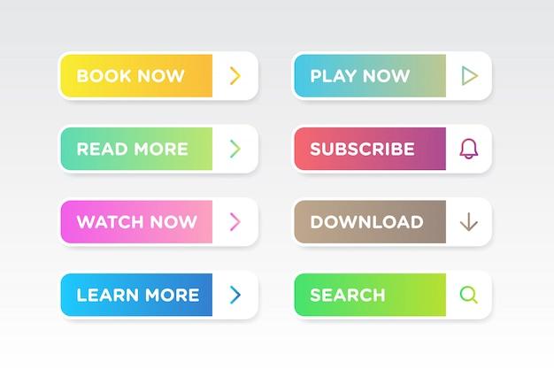Conjunto de gradiente colorido limpo estilo botões ícone vector moderno material
