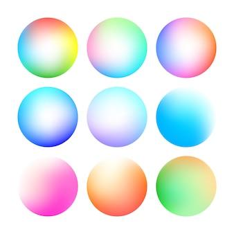 Conjunto de gradiente de cor suave brilhante redondo. fundo abstrato moderno. fundo de ilustração vetorial