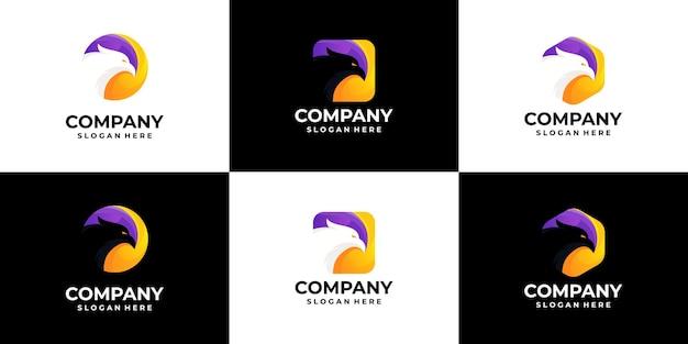 Conjunto de gradiente de logotipo de águia