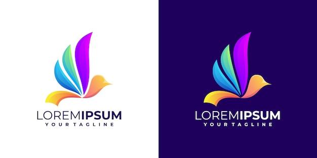 Conjunto de gradiente de logotipo de pássaro