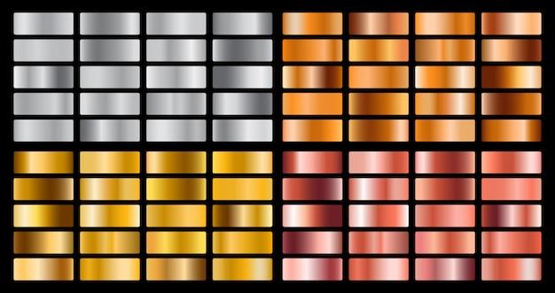 Conjunto de gradiente de metal ouro, prata, rosa, laranja e conjunto de textura de folha de ouro.