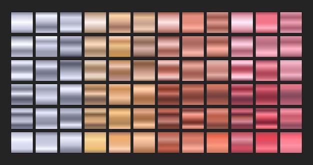 Conjunto de gradiente de metal planos de fundo texturizados em ouro prata bronze e ouro rosa