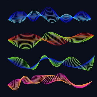 Conjunto de gradiente de ondas sonoras de linha. forma de onda de áudio
