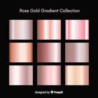 Conjunto de gradiente de ouro rosa textura metálica