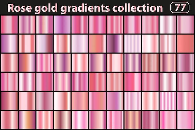 Conjunto de gradiente ouro rosa. coleção de swatch rosa metálico cor moderna.