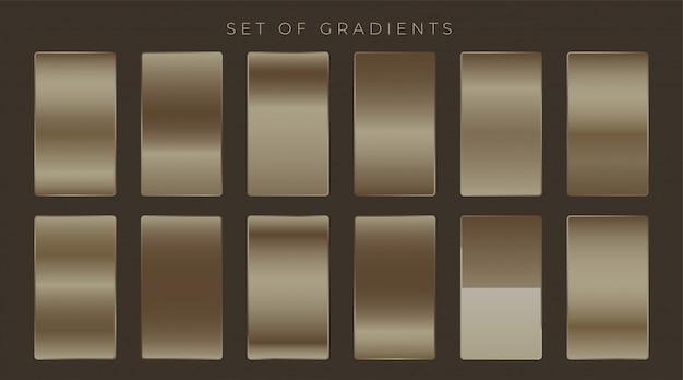Conjunto de gradientes brilhante metalizado escuro
