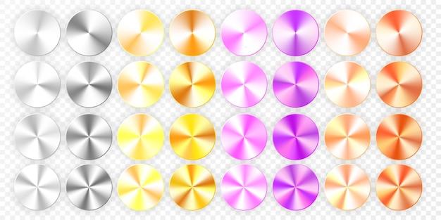 Conjunto de gradientes cônicos em um fundo transparente.