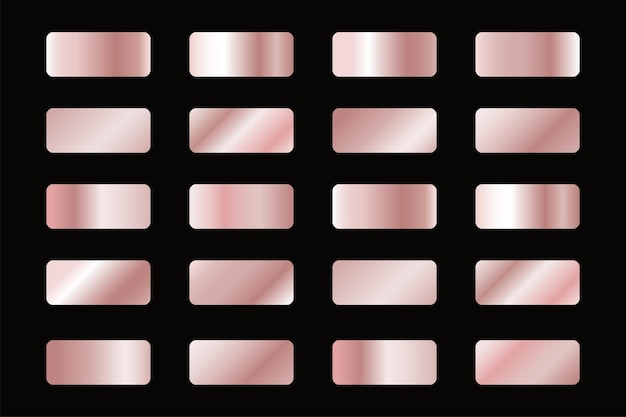 Conjunto de gradientes de cobre, amostras de fundo de bronze.
