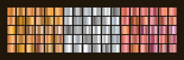 Conjunto de gradientes de ouro, prata e bronze