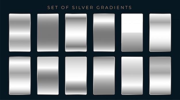 Conjunto de gradientes de prata ou platina