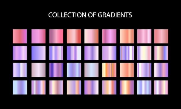 Conjunto de gradientes. grande coleção de gradiente metálico colorido