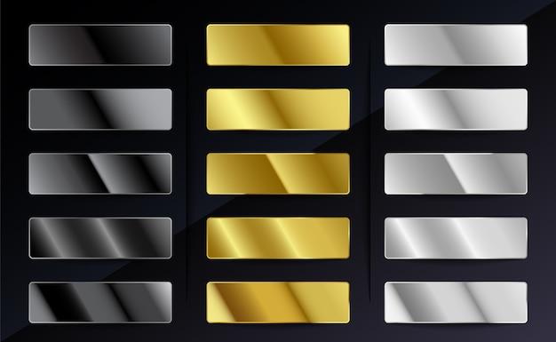 Conjunto de gradientes metálicos de aço prateado
