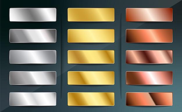 Conjunto de gradientes metálicos de prata aço cromo platina alumínio ouro bronze cobre