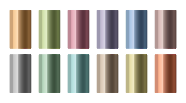 Conjunto de gradientes metálicos em cores diferentes