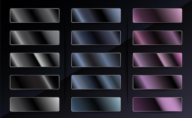Conjunto de gradientes metálicos em preto platinado