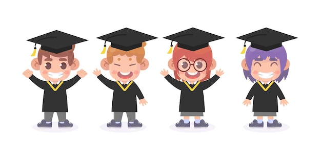 Conjunto de graduados fofos
