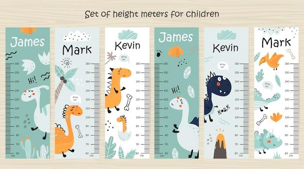 Conjunto de gráfico de altura de crianças com dinossauros