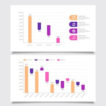 Conjunto de gráfico de cachoeira de design plano