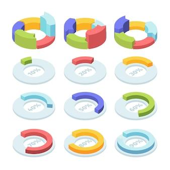Conjunto de gráfico de setores circulares isométricos