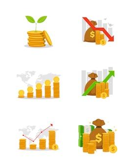Conjunto de gráfico financeiro de negócios