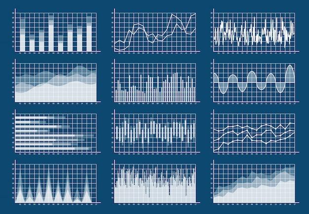 Conjunto de gráfico financeiro. gráficos linha finanças comércio estatística mercado crescimento negócios diagrama análise infográfico plano