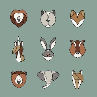 Conjunto de gráfico linear de cabeças de animais