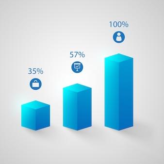 Conjunto de gráficos azuis
