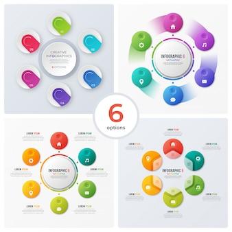 Conjunto de gráficos circulares modernos e infográficos