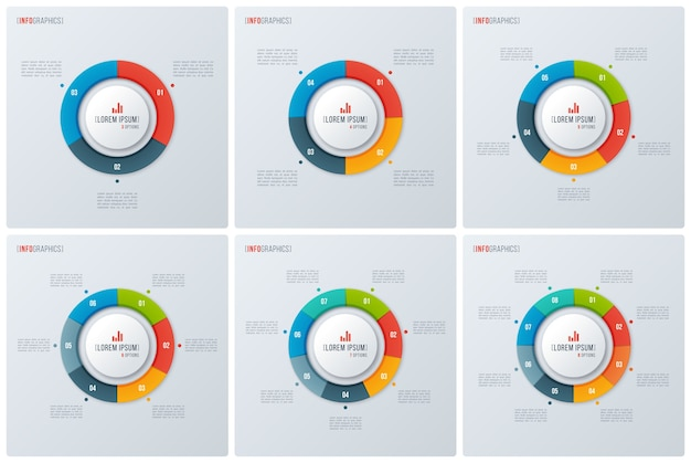 Conjunto de gráficos de donut de círculo de estilo moderno, designs de infográfico, modelos de visualização. .