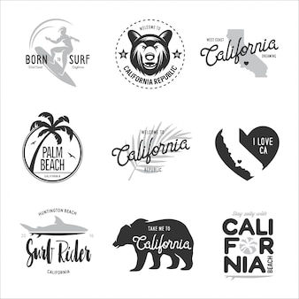 Conjunto de gráficos de estilo de surf da califórnia.