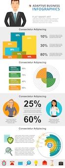 Conjunto de gráficos de infográfico de conceito de economia e estatísticas