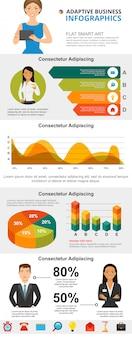Conjunto de gráficos de infográfico de conceito de marketing e análise