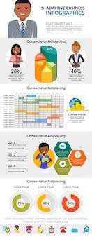 Conjunto de gráficos de infográfico de conceito de planejamento ou análise