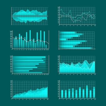 Conjunto de gráficos de negócios. infográficos e diagnósticos, gráficos e esquemas. linhas de tendência, colunas, fundo de informações de economia de mercado. análise e gestão de ativos financeiros.