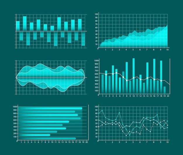 Conjunto de gráficos de negócios. infográficos e diagnósticos, gráficos e esquemas. Vetor Premium