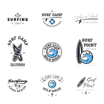 Conjunto de gráficos de surf vintage e emblemas