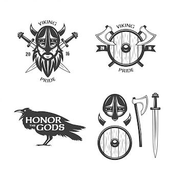 Conjunto de gráficos de t-shirt relacionados com viking