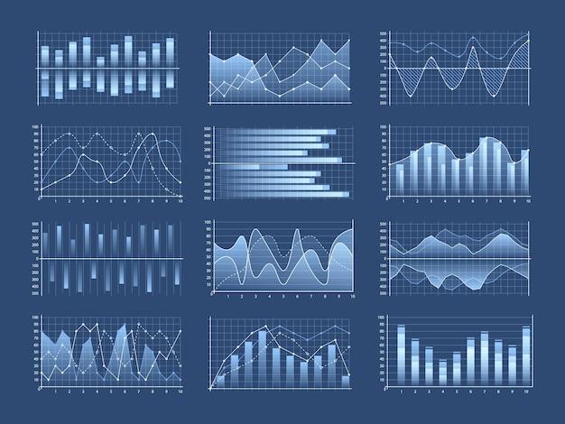 Conjunto de gráficos e diagramas de negócios