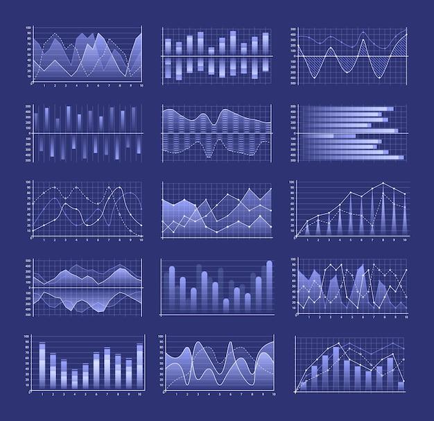 Conjunto de gráficos e tabelas, incluindo design de colunas agrupadas