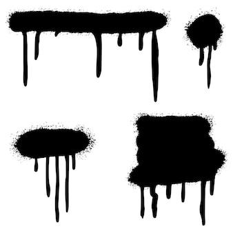 Conjunto de grafite com linhas pintadas com spray e pontos grunge isolados