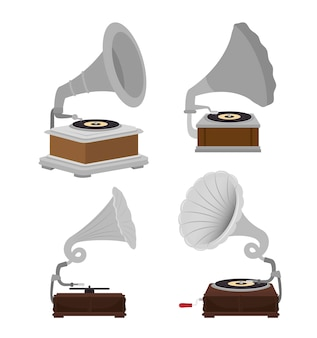 Conjunto de gramofones isolado ícone do design