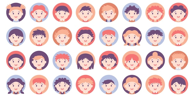 Conjunto de grande pacote de avatar de pessoas. adolescentes americanos e vários avatar de crianças. coleção de estudante e estudante. para videogame, fórum da internet, conta. foto do usuário, ícones de rosto humano em estilo simples
