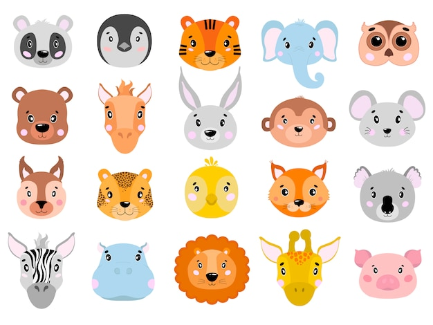 Conjunto de grande vetor de animais fofos ícone de cara plana.