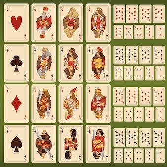 Conjunto de grande vetor de cartas de baralho com personagens estilizadas