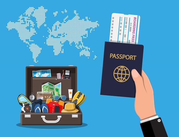 Conjunto de grande viagem. férias de verão, turismo, férias