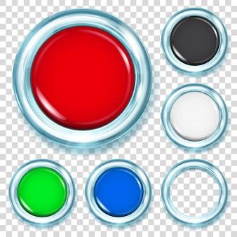 Conjunto de grandes botões de plástico em várias cores com borda metálica azul claro