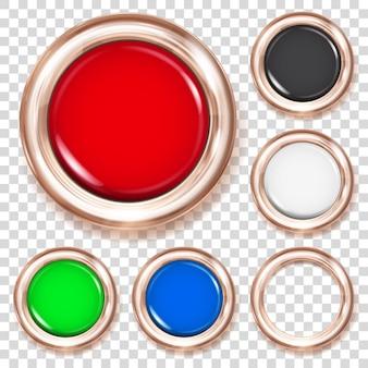 Conjunto de grandes botões de plástico em várias cores com borda metálica de bronze
