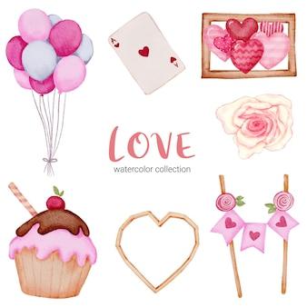 Conjunto de grandes corações vermelhos-rosa românticos de elemento de conceito dos namorados em aquarela grandes isolados para decoração, ilustração.