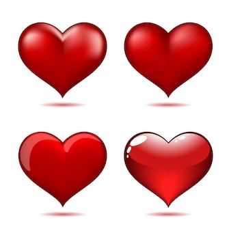 Conjunto de grandes corações vermelhos
